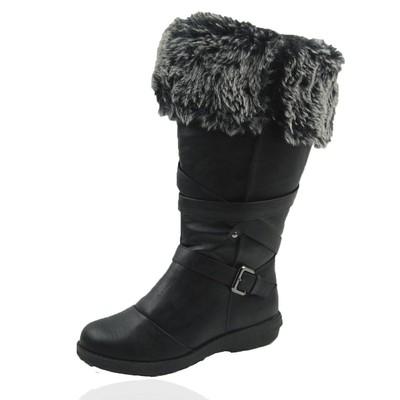 Women Winter Boots Comfy Moda Jessica Size 6-12 in Black Wide Calf