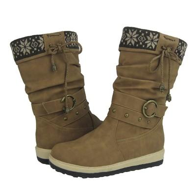 Women Winter Boots Comfy Moda Lala Size 6-12 in Tan