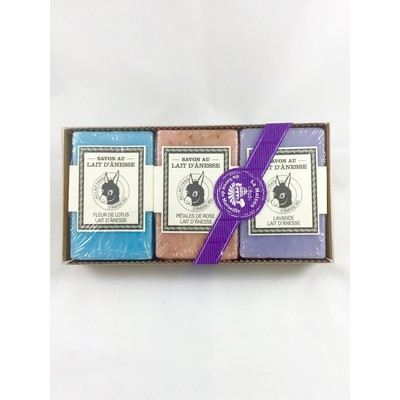 La Maison du Savon de Marseille Donkey Milk Soap Lotus/Rose Petals/Lavender 3 x 125g Gift Set  Made in France.