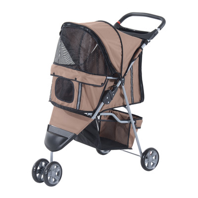 3 Wheel Folding Dog Pet Cat Stroller Carrier Carrying Cart With Brake and Canopy Coffee