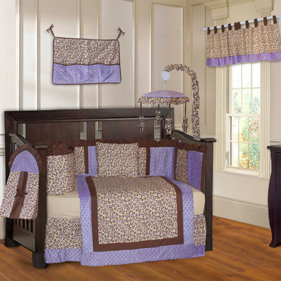 Purple Leopard 10 Piece Girls Baby Crib Bedding Set (Including Musical Mobile)