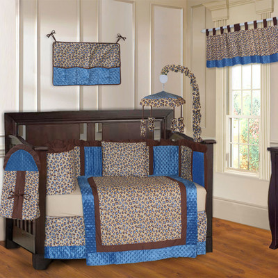 Blue Leopard 10 Piece Girls Baby Crib Bedding Set (Including Musical Mobile)