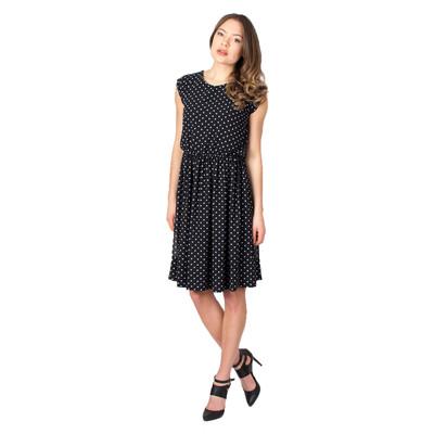 Tetiana K Women's Cap Sleeve Dress, Black Polka Dot