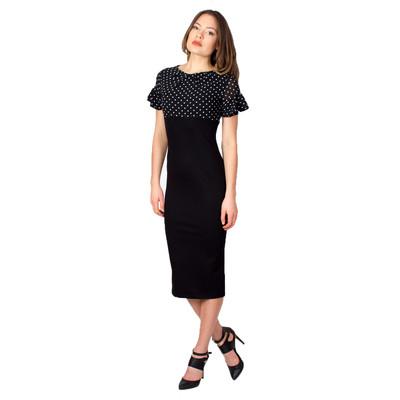 Tetiana K Women's Ruffle Sleeve Dress, Black Polka Dot