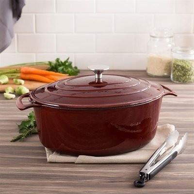 Le Cuistot KB32LVR Cast Enamel 2-Tone Oval Dutch Oven - Red Wine