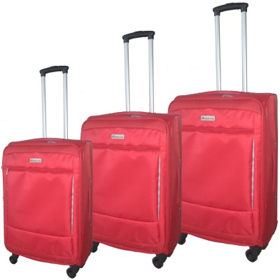 "McBrine Super Light Expandable 3 PC soft sided Luggage Set on swivel wheels  consisting of 28"", 24"" and 19"" uprights - Red"