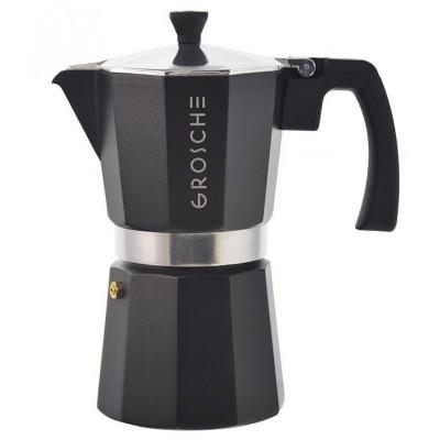 Grosche Milano Stovetop Espresso Maker, Black, 6 cup