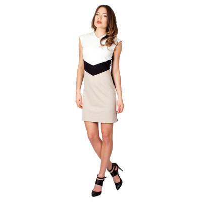 Tetiana K Women's Colour Block Dress With Cap Sleeves, Tan Multi