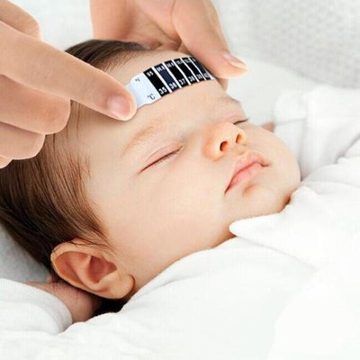 Children Fever Forehead Thermometer Strip, Non-Toxic, Safe to Use, Checking temperature without disturbing the sleeping baby (pack of 8).