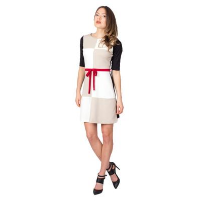 Tetiana K Women's Mod Mini Dress With Bow, Tan Multi