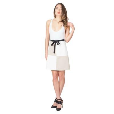 Tetiana K Women's Mod Mini Skirt With Bow, Tan Multi