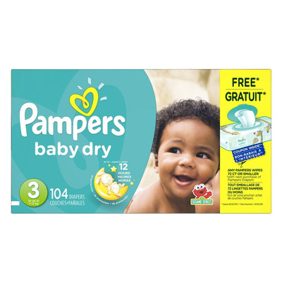 Pampers Baby Dry Diapers - Size 3 104 Diapers - Size 3 - Super Pack