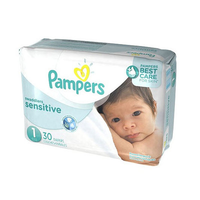 Pampers Swaddlers Sensitive Diapers - Size 1 30 Diapers - Size 0 - Jumbo Pack