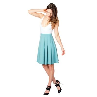 Tetiana K Women's Cascading Pleats Skirt, Seafoam Green