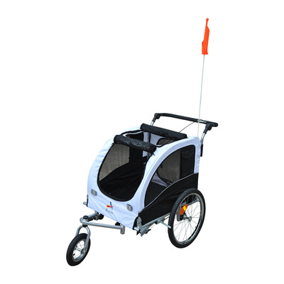 2in1 Bicycle Pet Dog Trailer Stroller Carrier Black White
