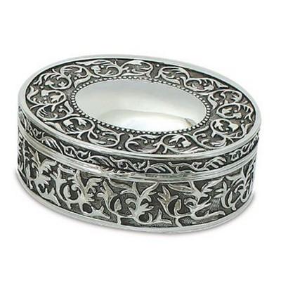 "Nickel Plated Oval Jewelry Box, 5""x4.25"""