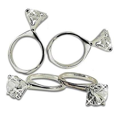 "Diamond Ring Napkin Rings Set of 4, 1""x2.75""x1.75"""