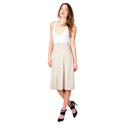 Tetiana K Women's Gold Buttons A Line Skirt, Tan
