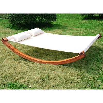 Garden Outdoor Wood Frame Double Hammock Sun Bed Lounger w/ Pillows