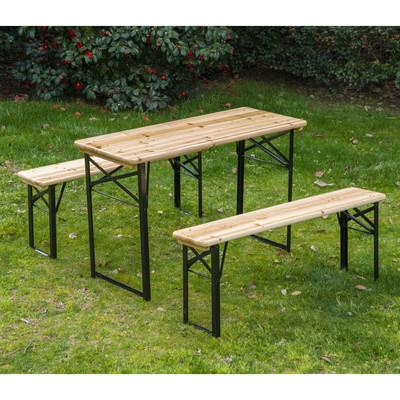 Outdoor Garden Folding Portable Wooden 6ft Picnic Table Benches Set