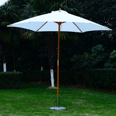 9' Patio Wooden Patio Umbrella White