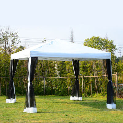 10' x 10' Outdoor Pop Up Party Tent Canopy Gazebo Mesh Side Walls White