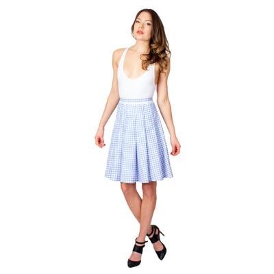 Tetiana K Women's Gingham Pleated Skirt, Blue