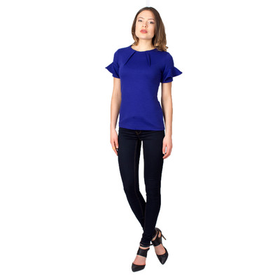 Tetiana K Women's Ruffle Sleeve Blouse, Royal Blue