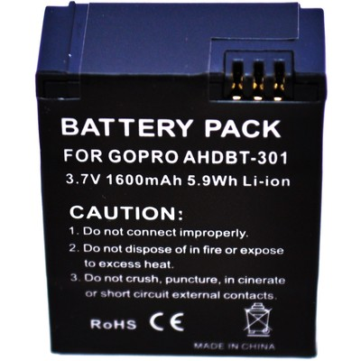 Replacement lithium-ion battery for GoPro HERO 3 camera. (818795012845)