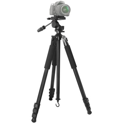 Elite Professional 80-Inch 4 Leg Section Tripod with Foam Grips, Carrying Handle, 2 Bubble Levels, and Low Angle Leg Releases, Black