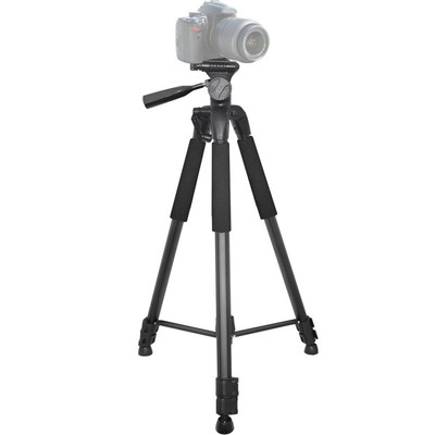 Elite Series 75-Inch 4 Leg Section Tripod with Foam Grips, Carrying Handle, 2 Bubble Levels, Hook and Quick Release, Black