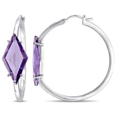 SRL Amethyst Prism Hoop Earrings in Sterling Silver