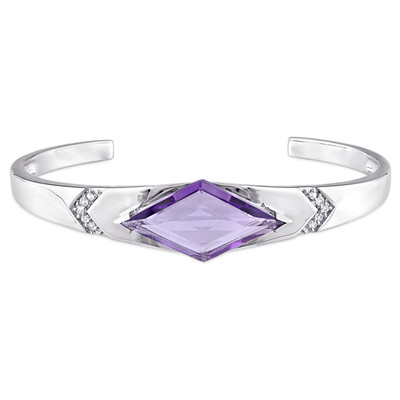 Amethyst and White Sapphire Prism Bangle in Sterling Silver