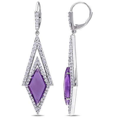 White Sapphire and Amethyst Prism Drop Earrings in Sterling Silver