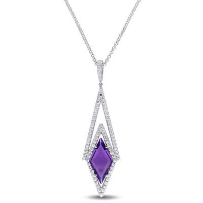 White Sapphire and Amethyst Prism Necklace in Sterling Silver