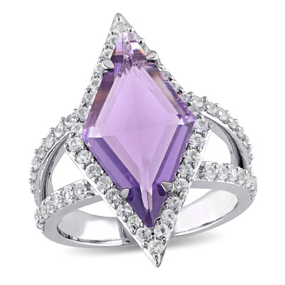 Amethyst and White Sapphire Prism Ring in Sterling Silver