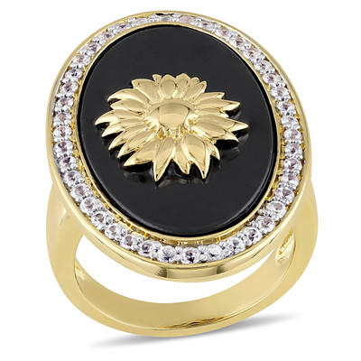 Black Agate and White Sapphire Logo Flower Ring in 18k Yellow Gold Plated Sterling Silver