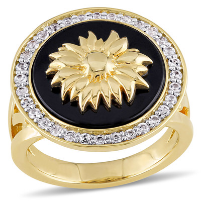 White Sapphire and Black Agate Sunflower Ring in 18k Yellow Gold Plated Sterling Silver
