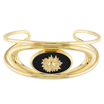 Black Agate Mystique Bangle in 18k Yellow Gold Plated Sterling Silver
