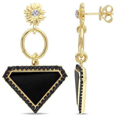 Black Agate, White and Black Sapphire Sunflower Drop Earrings in 18k Yellow Plated Sterling Silver