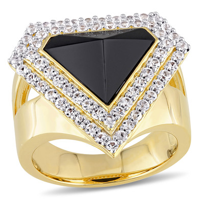 Black Agate and White Sapphire Mystique Ring in 18k Yellow Gold Plated Sterling Silver
