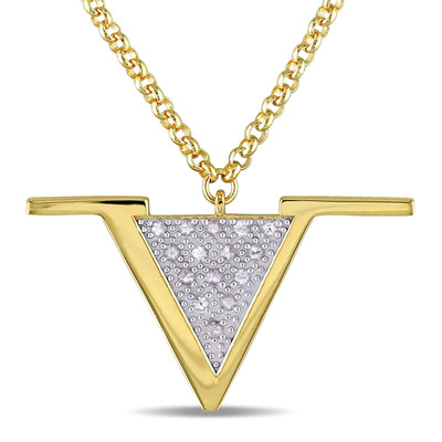 White Sapphire Insignia Necklace in 18k Yellow Gold Plated Sterling Silver