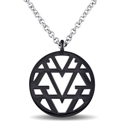 Openwork Necklace in Sterling Silver with Black Rhodium