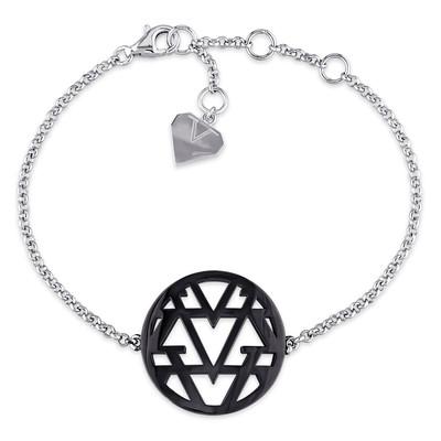 Openwork Bracelet in Sterling Silver with Black Rhodium