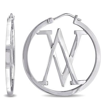 Insignia Hoop Earrings in Sterling Silver