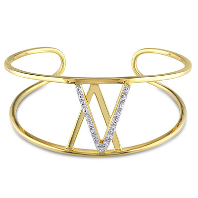 White Sapphire Insignia Bangle in 18k Yellow Gold Plated Sterling Silver