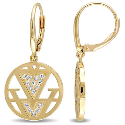 White Sapphire Openwork Earrings in 18k Yellow Gold Plated Sterling Silver