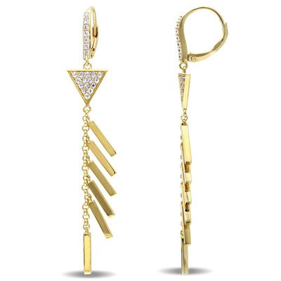 White Sapphire Insignia Drop Earrings in 18k Yellow Gold Plated Sterling Silver