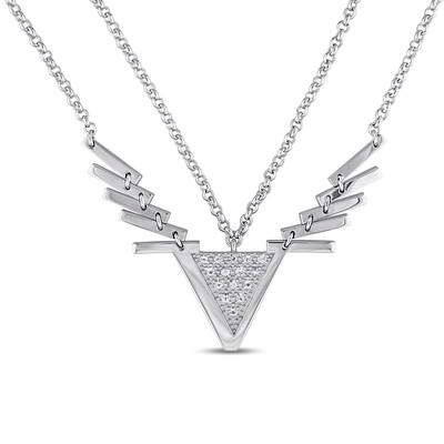 White Sapphire Insignia Necklace in Sterling Silver