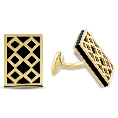 Black Onyx Cufflinks in 18k Yellow Gold Plated Sterling Silver